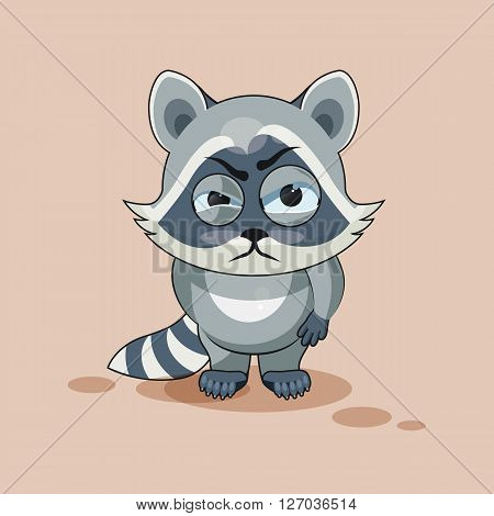 Vector Stock Illustration isolated Emoji character cartoon Raccoon cub sticker emoticon with angry emotion for site, info graphic, video, animation, websites, e-mails, newsletters, reports, comics