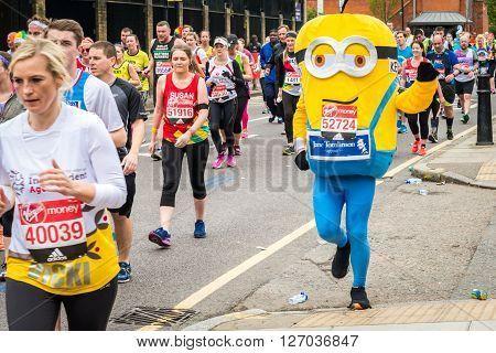 London United Kingdom - April 24 2016: London Marathon 2016. Runners in great costumes. Minion costume