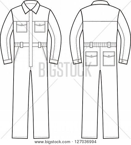 Vector illustration of work overalls. Front and back