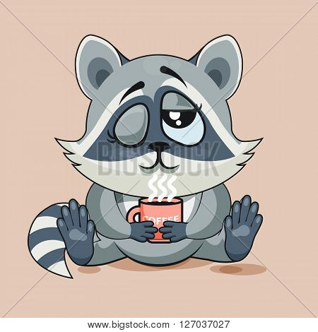Vector Stock Illustration Emoji character cartoon Raccoon cub just woke up with cup of coffee sticker emoticon for site, infographic, video, animation, website, e-mail, newsletter, report, comic