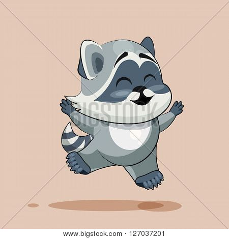 Vector Stock Illustration isolated Emoji character cartoon Raccoon cub jumping for joy, happy sticker emoticon for site, info graphic, video, animation, websites, e-mails, newsletters, reports, comics