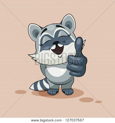 Vector Stock Illustration isolated Emoji character cartoon Raccoon cub approves with thumb up sticker emoticon for site, info graphic, video, animation, websites, e-mails, newsletters, reports, comics