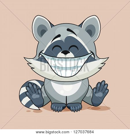 Vector Illustration isolated Emoji character cartoon Raccoon cub with huge smile from ear to ear sticker emoticon for site, infographic, video, animation, website, e-mail, newsletter, report, comic