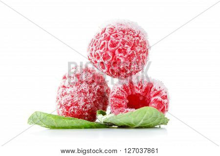 Frozen raspberries macro with mint leaves and ice  isolated on white background