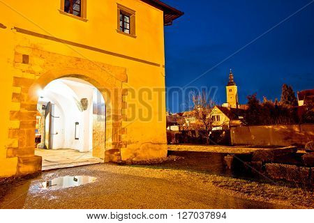 Baroque town of Varazdin evening view northern Croatia