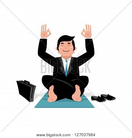 Businessman doing yoga. Man in suit sitting in lotus position. Meditation in office during working hours. Manager relaxing after work