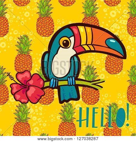 Bird Toucan Ramphastida tropical hibiscus flower in cartoon style. The phrase Hello. Suitable for print on t-shirt poster jungle postcard for children