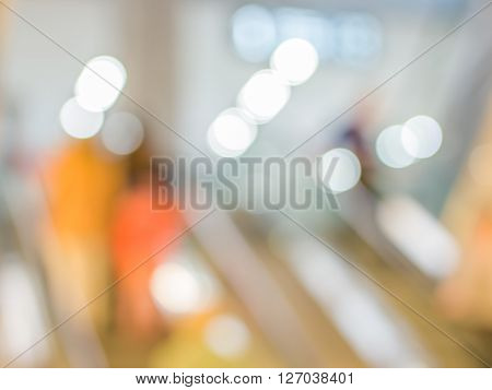 Blurred Escalator In Shopping Mall Background