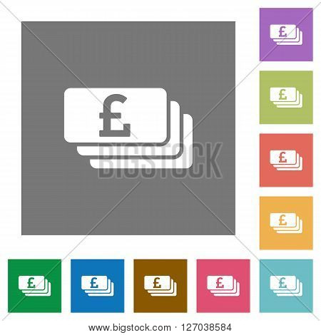 Pound banknotes flat icon set on color square background.