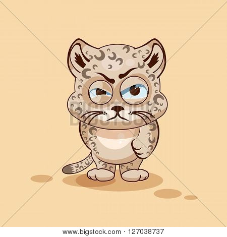 Vector Stock Illustration isolated Emoji character cartoon Leopard cub sticker emoticon with angry emotion for site, info graphic, video, animation, websites, e-mails, newsletters, reports, comics