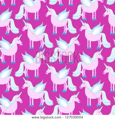 Pink Unicorn Seamless Pattern. Fantastic Animal On Purple Background. Fabulous Beast Texture. Mythic