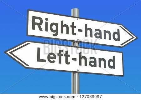 right-hand or left-hand concept on the signpost 3D rendering