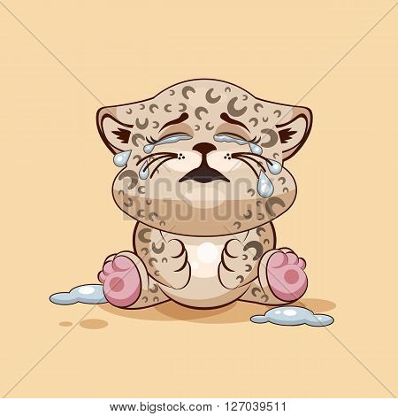 Vector Stock Illustration isolated Emoji character cartoon Leopard cub crying, lot of tears sticker emoticon for site, info graphic, video, animation, websites, e-mails, newsletters, reports, comics