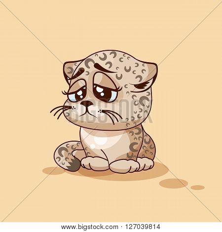 Vector Stock Illustration isolated Emoji character cartoon Leopard cub sad and frustrated sticker emoticon for site, info graphic, video, animation, websites, e-mails, newsletters, reports, comics
