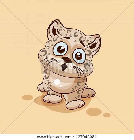 Vector Stock Illustration isolated Emoji character cartoon Leopard cub surprised with big eyes sticker emoticon for site, info graphic, video, animation, websites, e-mails, newsletters, reports, comics