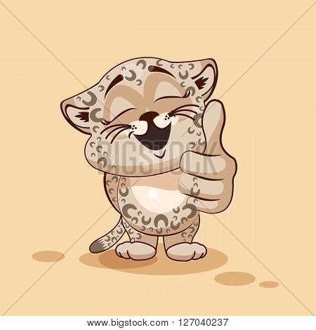 Vector Stock Illustration isolated Emoji character cartoon Leopard cub approves with thumb up sticker emoticon for site, info graphic, video, animation, websites, e-mails, newsletters, reports, comics