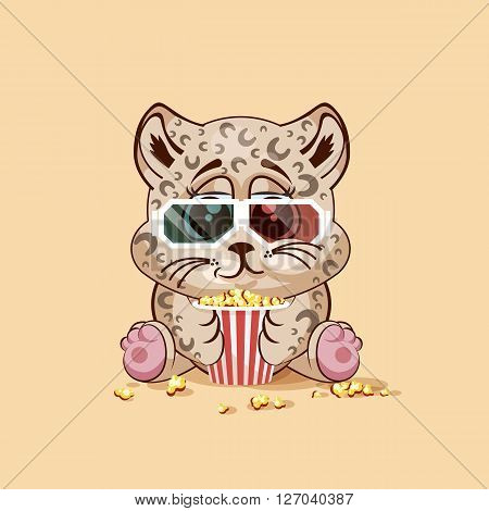 Vector Illustration Emoji character cartoon Leopard cub chewing popcorn, watching movie in 3D glasses sticker emoticon for site, infographic, video, animation, website, e-mail, newsletter, report, comic