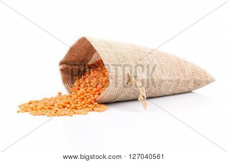 Red Lentils In Burlap Bag