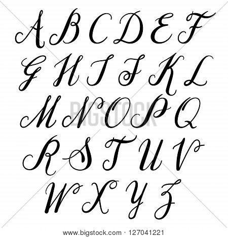 Alphabet letters: uppercase. Vector alphabet. Hand drawn letters. Letters of the alphabet written with a paint brush