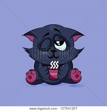 Vector Stock Illustration isolated Emoji character cartoon black cat just woke up with cup of coffee sticker emoticon for site, infographic, video, animation, websites, e-mails, newsletters, reports, comics