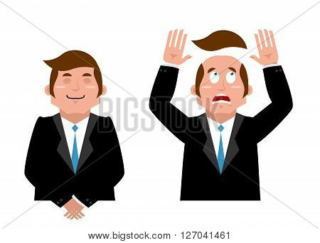 Businessman Set. Joyful Man In Suit. Man And Wig. Scared Manager Lost His Hair. Artificial Hair Flew