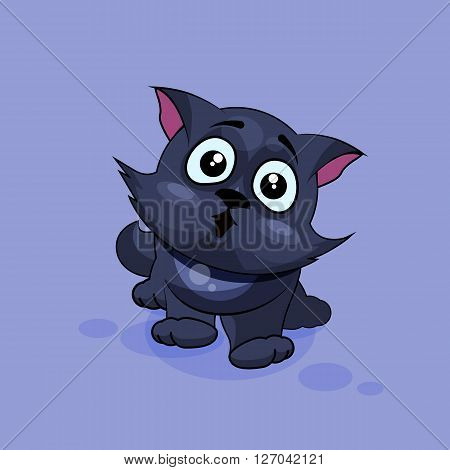 Vector Stock Illustration isolated Emoji character cartoon black cat surprised with big eyes sticker emoticon for site, infographics, video, animation, websites, e-mails, newsletters, reports, comics