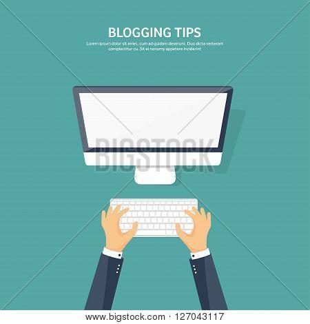 Vector illustration. Flat hands with compuiter. Computing, blogging.