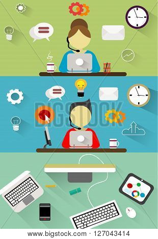 Technical support, customer service flat illustration concepts set. Flat design concepts for web banners, web sites, printed materials, infographics. Creative vector illustration