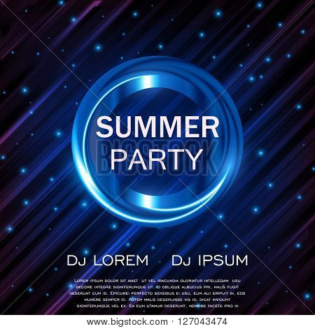 Hello Summer Party Flyer, Club Party Flyer, Vector Design EPS10