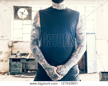 Man with the tattooed hands, selective focus
