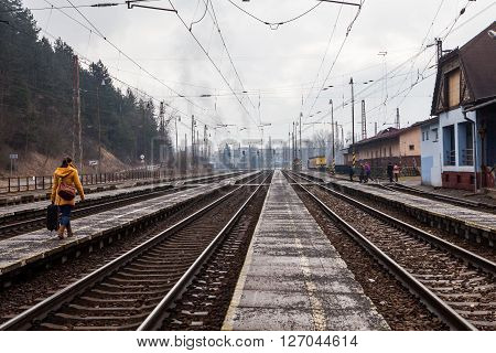 RUZOMBEROK, SLOVAKIA - FEBRUARY 27, 2015: Train is arriving into the railway station of Ruzomberok Slovakia on February 27, 2015. The railway station of Ruzomberok was opened on December 8, 1871.