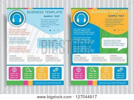 Headphone Symbol On Vector Brochure Flyer Design Layout Template