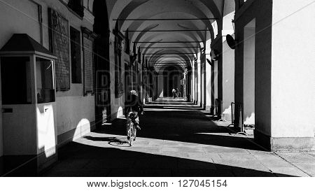 TURIN, ITALY - APRIL 8, 2015: Exterior view of the italian city Turin on April 8, 2015. Its an important business and cultural centre in northern Italy and capital of the Piedmont region.
