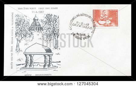 INDIA - CIRCA 1967 : Cancelled postage stamp printed by India, that shows Bhagat Sing.