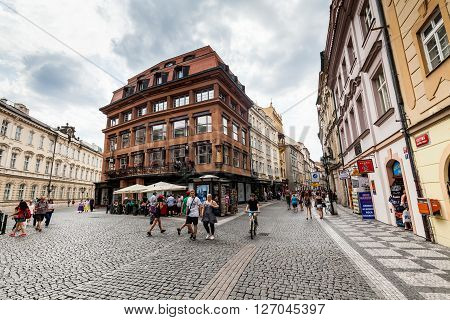 PRAGUE, CZECH REPUBLIC - JULY 18, 2015: Exterior views of famous House of the Black Madonna in of the old town of Prague on July 18 2015. Prague is the capital and largest city of the Czech Republic.