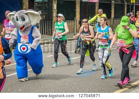 London United Kingdom - April 24 2016: London Marathon 2016. Runners in great costumes. Elephant costume