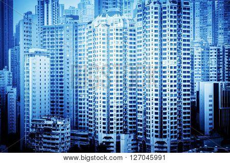 apartments in hongkong,china,blue toned image.