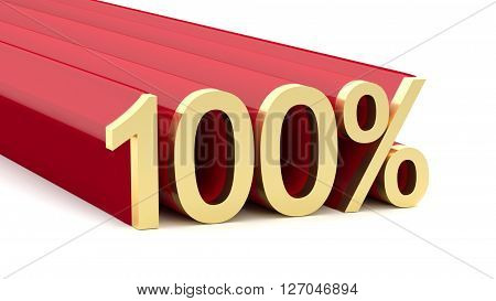 3D illustration of 100 percentage on a white background