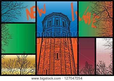 the image in the style pop art - the tower