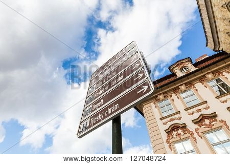 PRAGUE, CZECH REPUBLIC - FEBRUARY 26, 2015: Exterior views of famous buildings and landmarks in Prague Czech Republic on February 26 2016. Prague is the capitol city of Czech Republic.