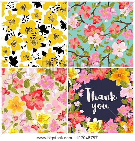 Set of floral backgrounds. Seamless floral pattern with yellow red pink hand drawn flowers. Thank you lettering in floral background. Spring and summer flowers. Sakura blossoms. Vector illustration.