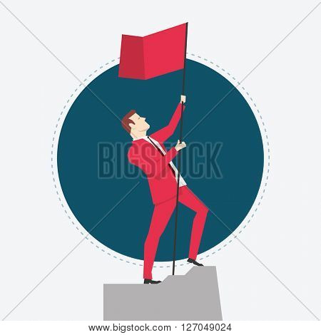 Businessman in red suit. Victory. Flat style vector illustration.