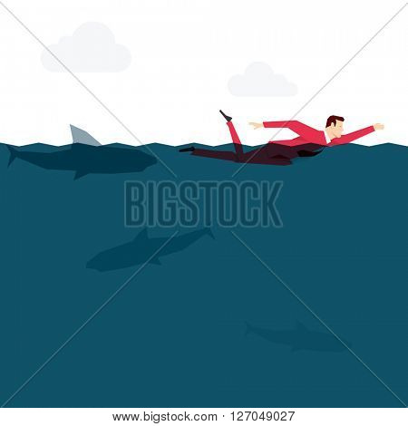 Red suit businessman in the ocean. Vector concept illustration.