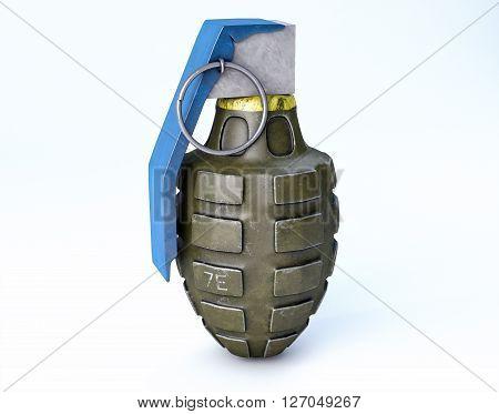 3D Isolated Grenade Illustration. War Concept Background.