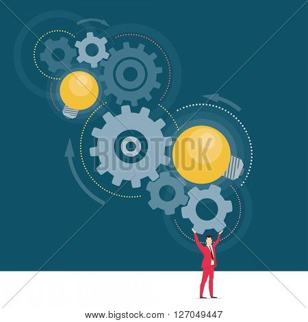 Red suit businessman. Great ideas. Vector concept illustration.