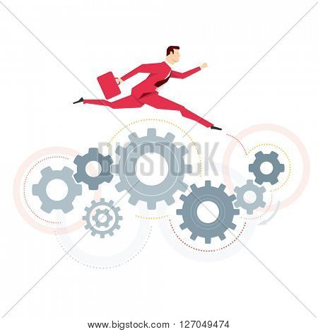 Red suit businessman. Jump. Vector concept illustration.