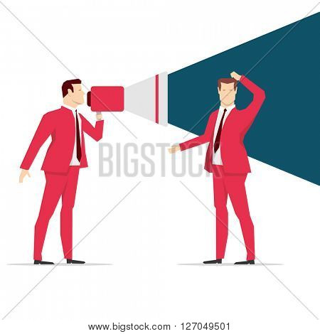 Red suit businessman. Shouting. Vector concept illustration.