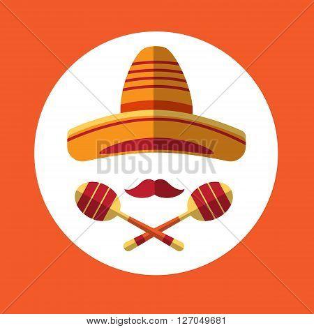 Sombrero Mustache Mexican Traditional Hat Maraca Icon Flat Vector Illustration