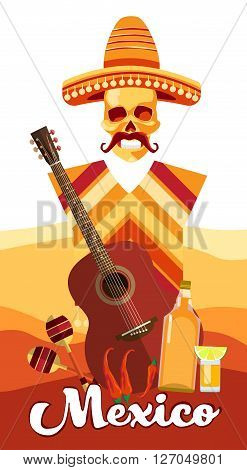 Skeleton Wear Mexican Traditional Sombrero Clothes With Guitar Over Desert Background Banner Flat Vector Illustration
