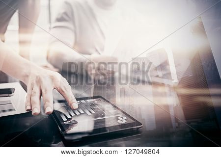 Investment work process.Double exposure photo woman showing business reports modern tablet, diagram screen.Banker manager holding pen for signs document, discussion startup idea.Horizontal.